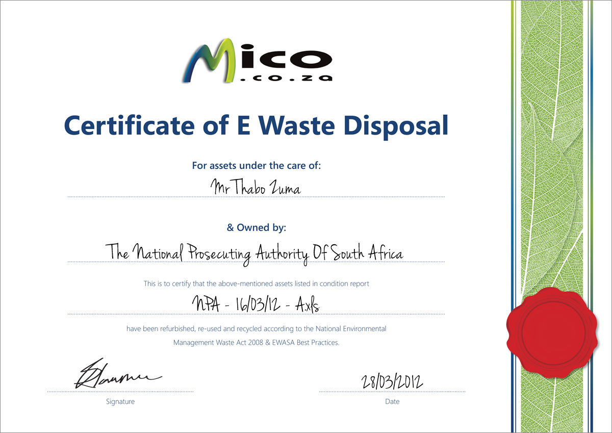 Mico EWaste Solutions - Recycling Certificates
